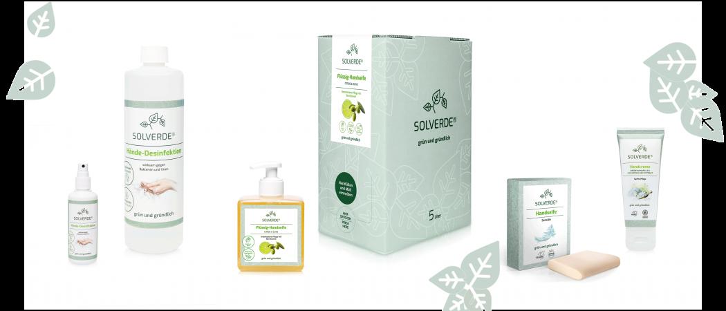 Das Bild zeigt die SOLVERDE-Produkte